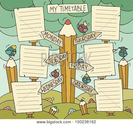 Cartoon School Timetable