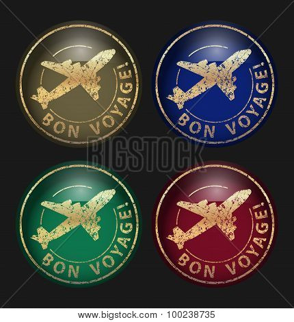 Set Of Four Bon Voyage Icons Gold Glossy Shine Grunge Vector Illustration On A Black For Button Or O