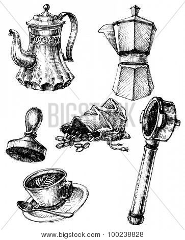 Coffee and coffee making set, retro style
