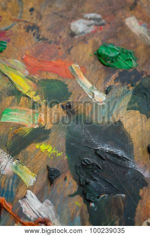 Colored Paint on Palette