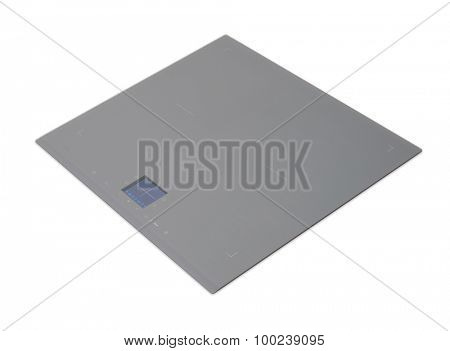 Gray induction hob with touch control panel isolated on white.