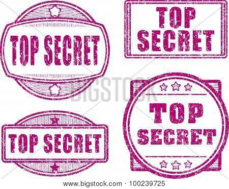 Set Of Four Top Secret Red Rubber Stamp