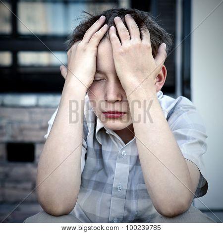 Sad Kid Outdoor