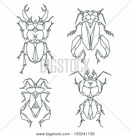 Insect icons, vector icon set. Abstract triangular style