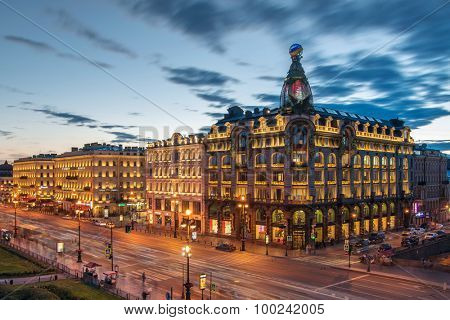 ST. PETERSBURG, RUSSIA - JUNE 17, 2015: Singer building and evening Nevsky avenue. Singer building was built in 1902-1904