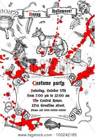 Medieval engraving style Halloween poster.