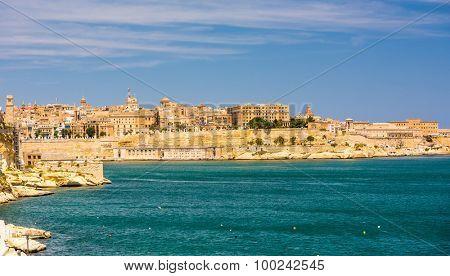 amazing coastal architecture of Valletta in Malta from the sea