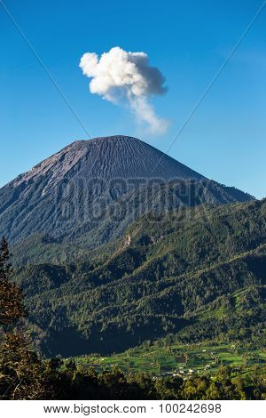 Ash cloud rising at Semeru Volcano Mountain, East Java, Indonesia