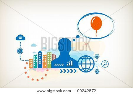Balloon And Person With Bubbles For Dialogue.