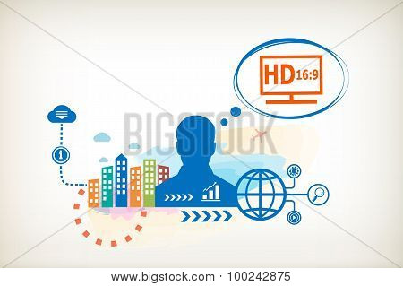 Lcd Tv Full Hd And Person With Bubbles For Dialogue.