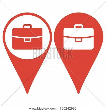 Map Pointer. Briefcase Icon, Vector Illustration. Flat Design Style