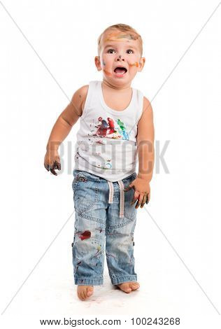 little boy painted with colors isolated on white background