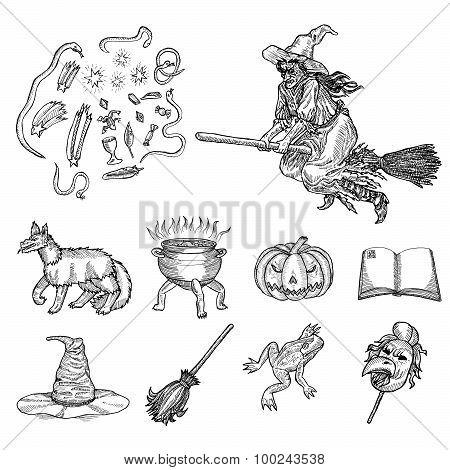 Ink line illustration for Halloween.