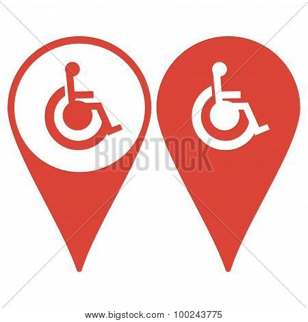 Map Pointer. Cripple Flat Simple Icon