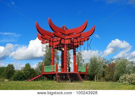 gazebo, red pagoda