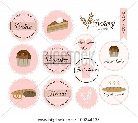 Badges And Labels For Bakery.