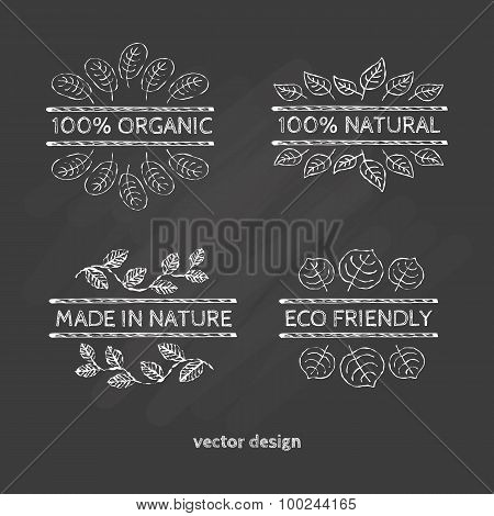 Typographic Elements For Organic And Natural Products.