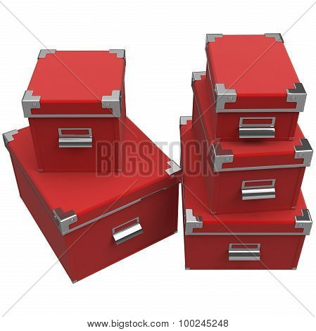 Boxes with chrome handles. 3D graphic