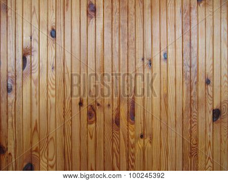 Wall Of Wooden Varnished Boards