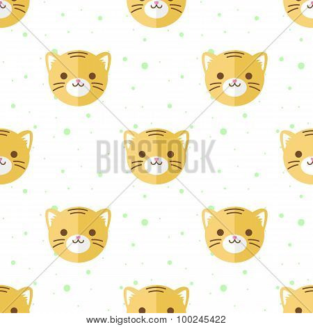 Vector flat cartoon tiger heads seamless pattern. Animal background.
