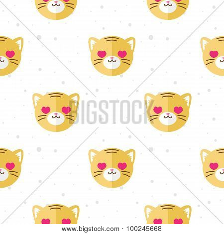 Vector flat cartoon tiger in love seamless pattern. Animal background.