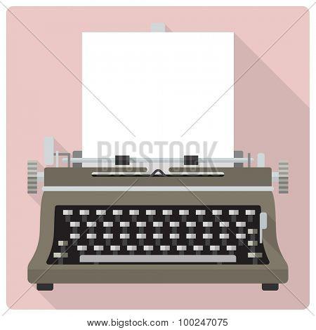 Vintage typewriter vector icon. Retro styled flat design vector icon of vintage typewriter