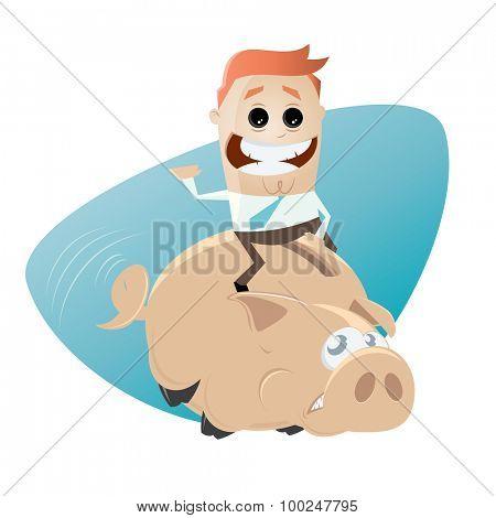 funny businessman riding a piggy bank
