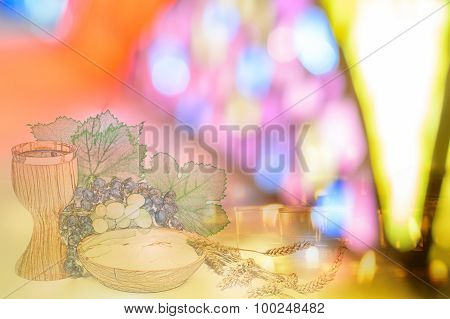 Eucharist Symbols On With Candles On Colorful Church Window Background