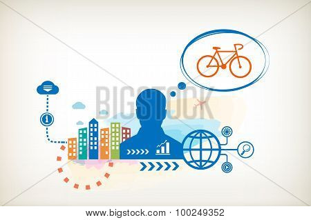 Cycling And Person With Bubbles For Dialogue.