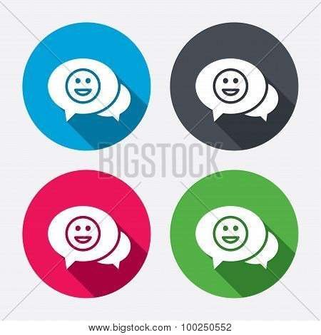 Chat Smile icon. Happy face symbol.