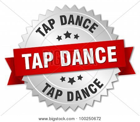 Tap Dance 3D Silver Badge With Red Ribbon