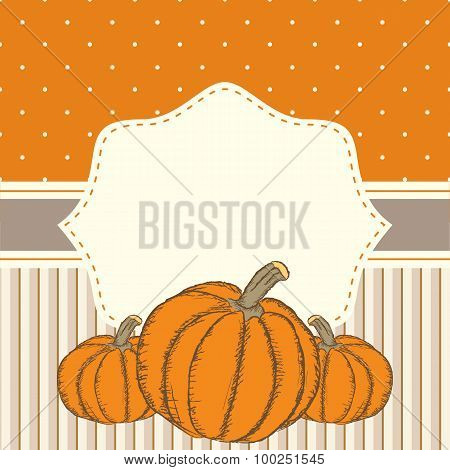 Hand Drawn Invitation Or Greeting Thanksgiving Card Template With Pumpkins