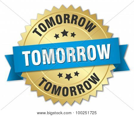 Tomorrow 3D Gold Badge With Blue Ribbon