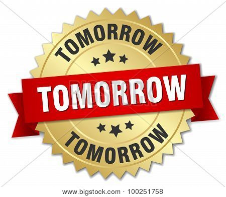 Tomorrow 3D Gold Badge With Red Ribbon