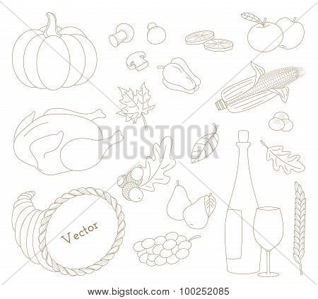 Set Of Hand Drawn Thanksgiving Elements In Modern Line Style On White Background.