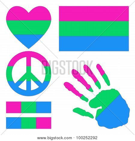 Polysexual Pride Design Elements.