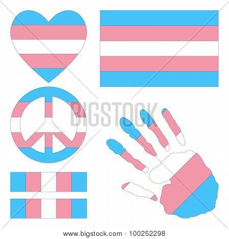 Transgender Pride Design Elements.
