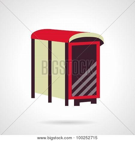 Flat color bus stop billboard vector icon