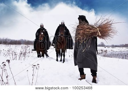 Medieval Peasant And Riding Knights Hospitallers