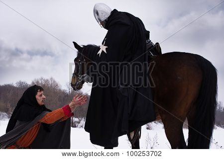 Knight Gives The Peasant A Coin