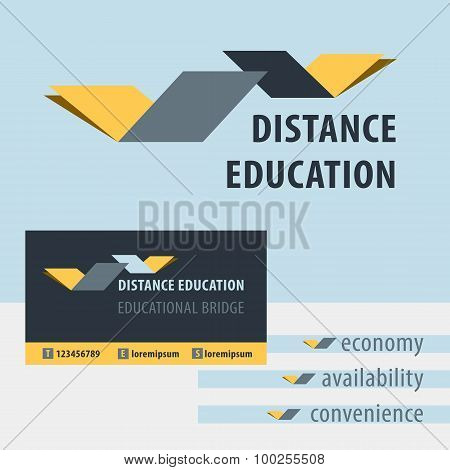 Distance education, the study of the logo. Educational Bridge.