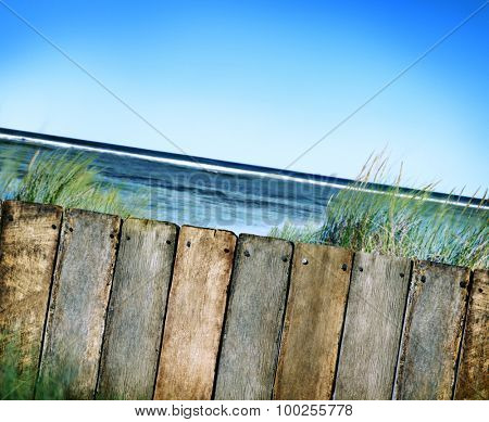Beach and Fence Wooden Tropical Seascape Concept