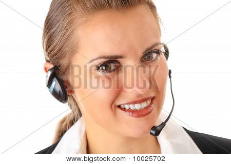 smiling modern business woman with garniture