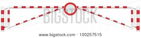 Gated Road Barrier Closeup, Round No Vehicles Sign, Roadway Gate Bar In Bright White And Red