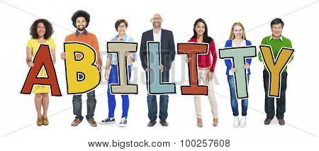 Group of People Standing Holding Ability Letter Concept