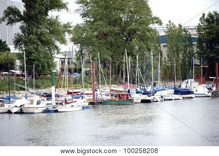 The sailboat harbor in Mainz