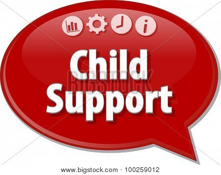 Speech bubble dialog illustration of business term saying Child Support