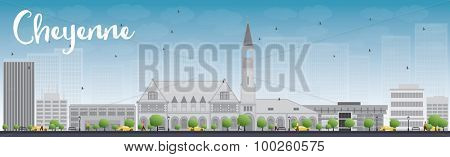 Cheyenne (Wyoming) Skyline with Grey Buildings and Blue Sky. Vector Illustration