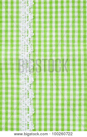 Greeen And White Tablecloth