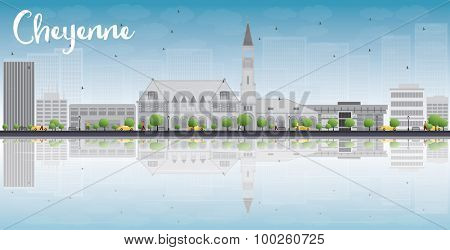 Cheyenne (Wyoming) Skyline with Grey Buildings, Blue Sky and reflections. Vector Illustration